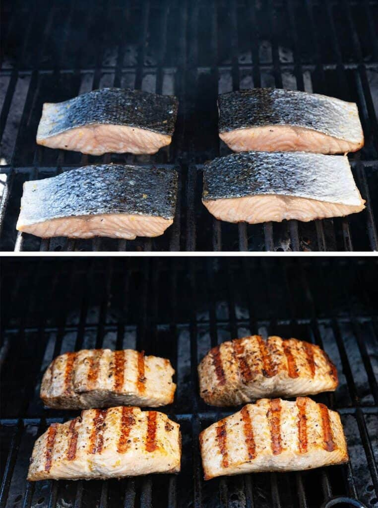 salmon being grilled on a gas grill