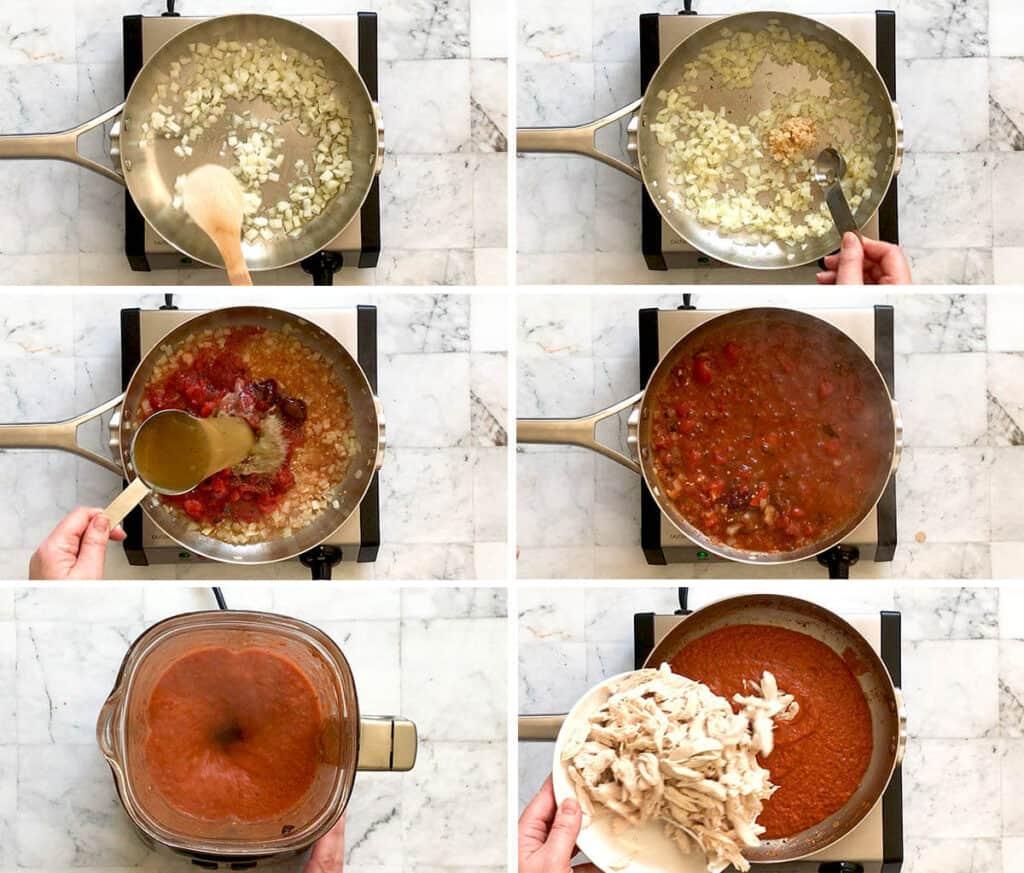 steps showing how to make chicken tinga flautas filling