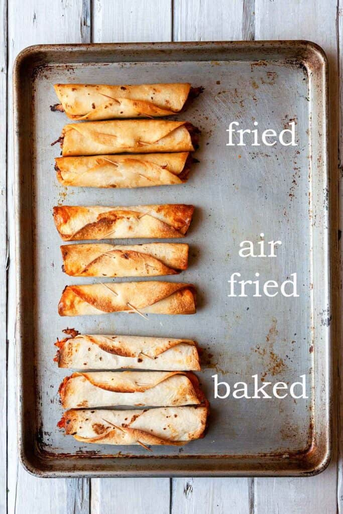 comparison between fried, air fried, and baked flautas on a pan