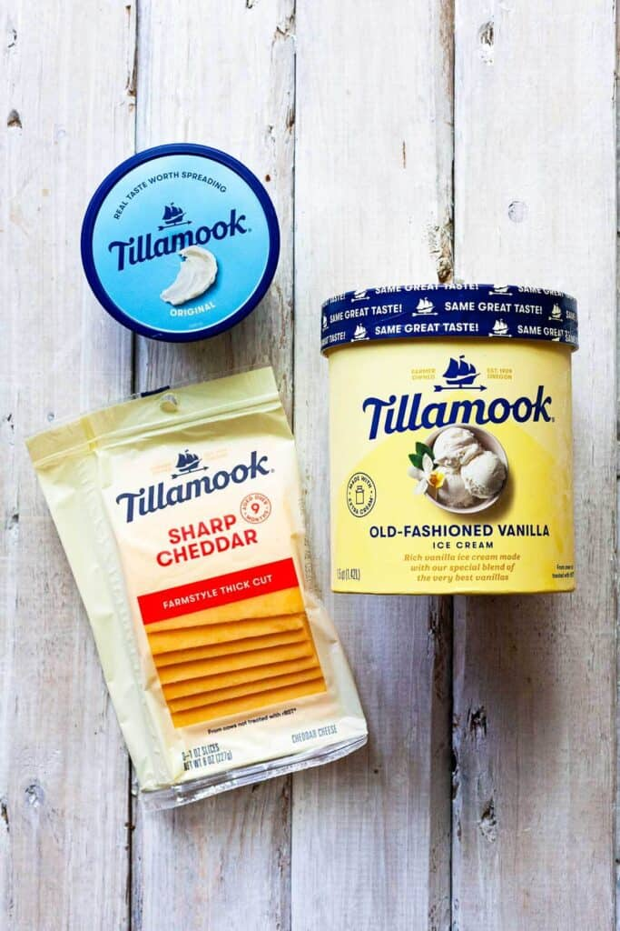 Tillamook ice cream, cheddar cheese, and cream cheese spread