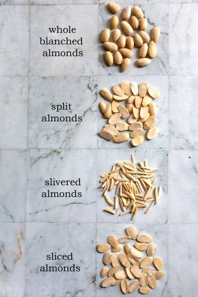whole almonds, split almonds, slivered almonds, and sliced almonds