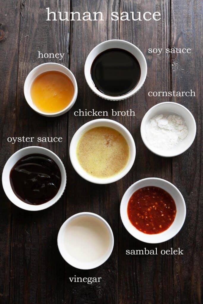 Hunan sauce ingredients: soy sauce, honey, oyster sauce, sambal oelek chili paste, cornstarch, chicken broth, rice vinegar