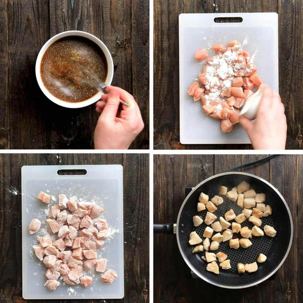 steps showing how to make Hunan chicken
