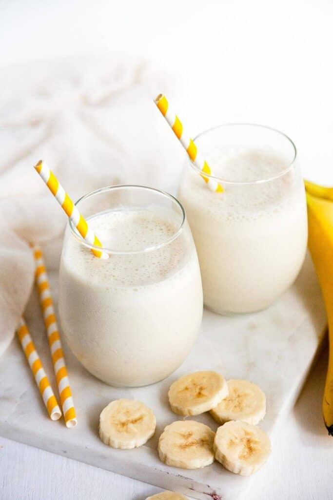two banana milkshakes