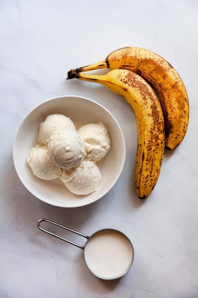 ingredients for banana milkshake: ice cream, bananas, milk