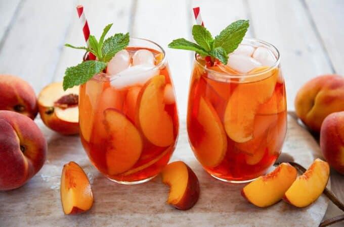 glasses of peach iced tea