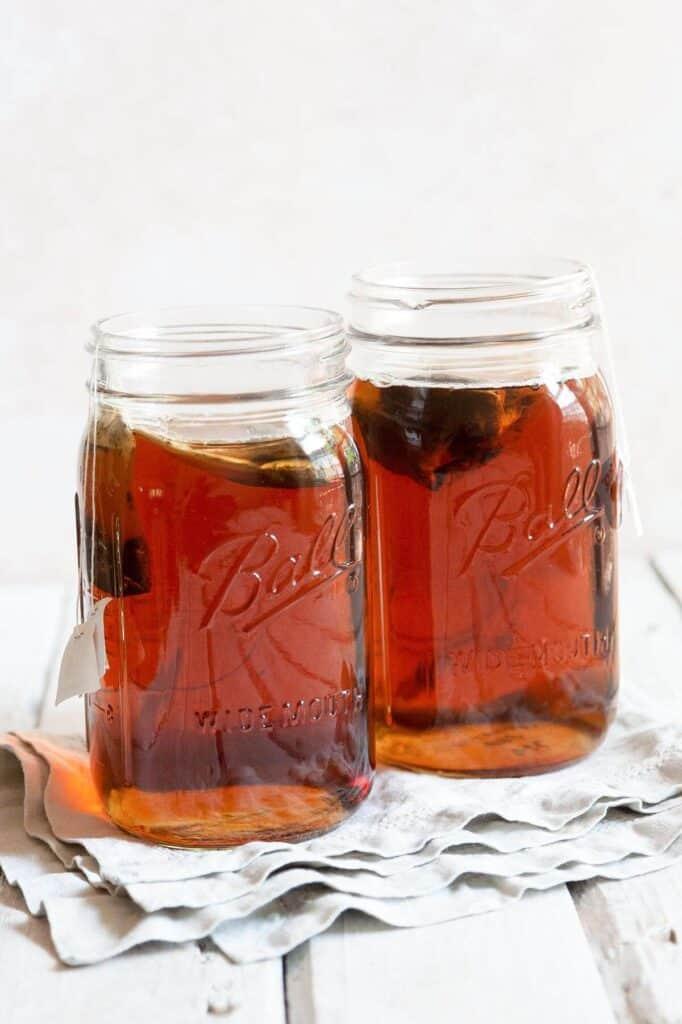 brewing tea in mason jars