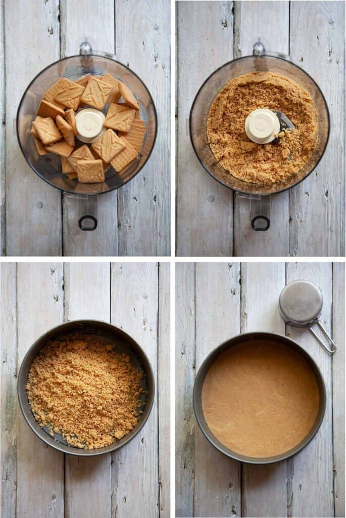 making the crust for mango cheesecake