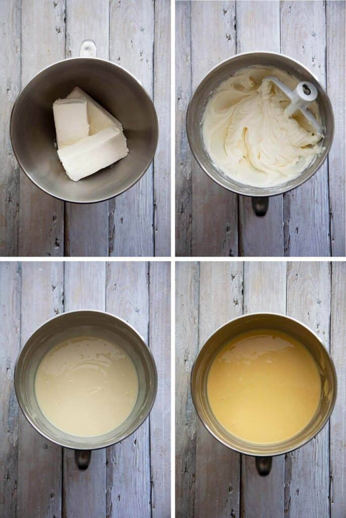mixing the batter for mango cheesecake step by step