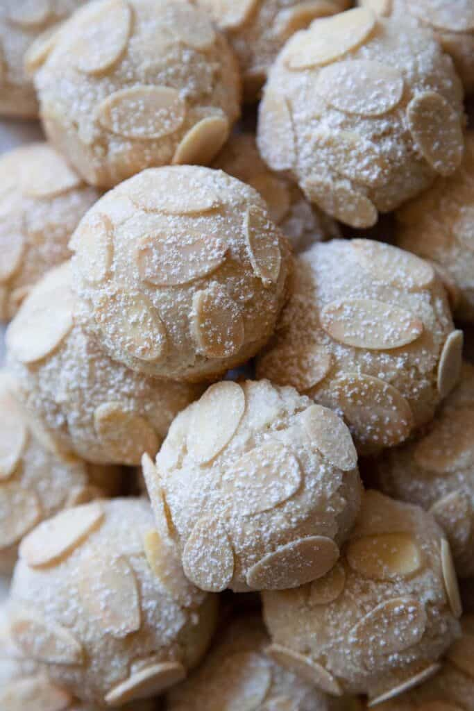 almond paste cookies with almond slices
